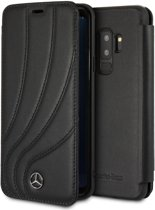 Mercedes-Benz Zwart Real Leather Booktype Case Samsung Galaxy S9 Plus
