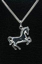 Zilveren Paard ketting hanger - groot