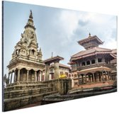 Bhaktapur Durbar plein Nepal Aluminium 90x60 cm - Foto print op Aluminium (metaal wanddecoratie)