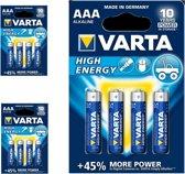 12 Stuks (3 Blisters a 4st) - VARTA High Energy LR03 / AAA / R03 / MN 2400 1.5V alkaline batterij