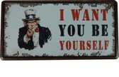 Retro Wandbord - I want you bord - Muur Decoratie - Metalen bord - Emaille Reclame bord - Wandborden - Mannen cadeau - Mancave Decoratie - Garage - Bar - Cafe - Restaurant Style