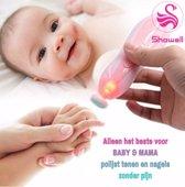 Showell - Baby Nageltrimmer Elektrisch | Geen nagelknipper -  knippen - nagelschaartje - vijlen meer nodig | Baby nagelvijl |Nagelsetje | Nail Trimmer | Led Light | Manicureset | Nageltrimset | Ultra Stil | Baby & Volwassenen | RoseRoze
