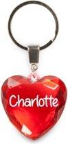 sleutelhanger - Charlotte - diamant hartvormig rood