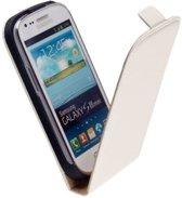 HC Flip case Leder case Telefoonhoesje - Samsung Galaxy S3 Mini Wit Creme