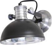 Steinhauer Brooklyn - Wandlamp - 1 lichts - E14 fitting - Kantelbaar - Zwart - Ø 20 cm
