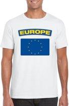 Europa t-shirt met Europese vlag wit heren M