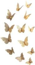 3D Gouden Vlinders Muurstickers - Unieke Muurdecoratie - XL Muurvlinders - Verschillende afmetingen - 12 Stuks - Gouden Vlinder - SEC