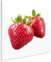 Aardbeien naast elkaar Plexiglas 50x50 cm - Foto print op Glas (Plexiglas wanddecoratie)