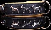 Dog's Companion leren halsband - 45-53 cm x 40 mm - Bull Terriër - zwart/naturel