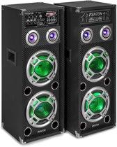 Actieve speakers - Fenton KA-28 - Actieve speakerset met Bluetooth, USB / SD mp3 speler en LED's - Ook voor karaoke - 1200W