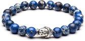 TCKN Natuurstenen armband - Kralen armband - Blauw -Buddha bedel Zilverkleurig