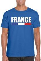 Blauw Frankrijk supporter t-shirt voor heren - Franse vlag shirts S