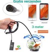 Saizi WiFi Endoscoop HD LED | Mini Camera met 3 meter  Kabel - 8 mm kop | Waterdichte inspectie camera met LED Verlichting / Voor Mobiel/ Tablet / Laptop/Saizi