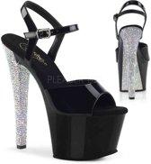 SKY-308LG (EU 36 = US 6) 7 Heel, 2 3/4 PF Ankle Strap Sandal w/ Glitter Bottom