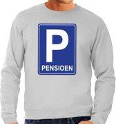 Pensioen P cadeau sweater grijs heren - Pensioen / VUT kado trui L
