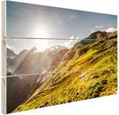 Grasrijk berggebied Hout 160x120 cm - Foto print op Hout (Wanddecoratie) XXL / Groot formaat!