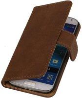 Samsung Galaxy Core II Hoesje Hout Bookstyle Bruin