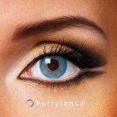 Kleurlenzen 'Aqua Blue' jaarlenzen inclusief lenzendoosje - blauwe contactlenzen Partylens®