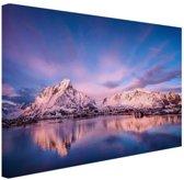 Bergen bij meer Canvas 80x60 cm - Foto print op Canvas schilderij (Wanddecoratie woonkamer / slaapkamer)