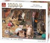King Puzzel 1000 Stukjes (68 x 49 cm) - Poezen in de Stal - Legpuzzel Dieren
