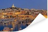De haven van Marseille in de avond verlicht Poster 120x80 cm - Foto print op Poster (wanddecoratie woonkamer / slaapkamer) / Europese steden Poster