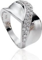 Classics&More Zilveren Ring - Maat 58 - Gerhodineerd Met Zirkonia