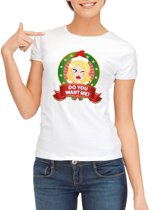 Foute Kerst shirt voor dames - Do You Want Me - wit S