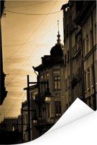 Zonnestralen in een straat van Boekarest in Roemenië Poster 80x120 cm - Foto print op Poster (wanddecoratie woonkamer / slaapkamer)