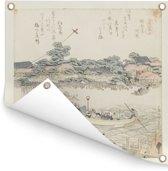 De Onmaya rivieroever - Schilderij van Katsushika Hokusai Tuinposter 200x200 cm - Tuindoek / Buitencanvas / Schilderijen voor buiten (tuin decoratie) XXL / Groot formaat!