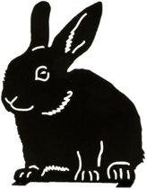 Silhouet zittend konijn
