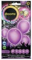 LED licht ballonnen paars 23 cm 5 stuks