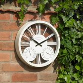 Wandklok / barometer Rosewood wit - Ø 35 cm