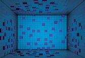 Fotobehang Modern Abstract Squares Blue Purple | XXL - 312cm x 219cm | 130g/m2 Vlies