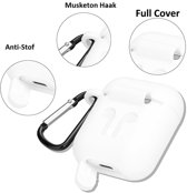 Anti Lost Case Cover Voor Apple Airpods 1/2 - Siliconen Band & Beschermhoes Hoes - Wit