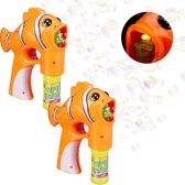 relaxdays 2 x bellenblaas pistool vis - bellenblaaspistool - LED - op batterijen