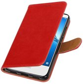 Wicked Narwal | Premium PU Leder bookstyle / book case/ wallet case voor Huawei Y7 / Y7 Prieme Rood