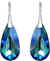 Zilveren Oorbellen met Swarovski Kristal Druppel Bermuda Blauw - 24MM