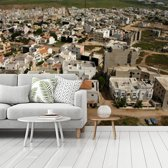 Fotobehang vinyl - De architectuur van Dakar in Senegal vanuit de lucht gezien breedte 350 cm x hoogte 260 cm - Foto print op behang (in 7 formaten beschikbaar)