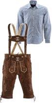 Lederhosen set | Top Kwaliteit | Lederhosen set F (goudbruine broek + blauw overhemd)-50-S