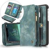 CASEME Apple iPhone X Luxe Lederen Portemonnee Hoesje - backcover groen