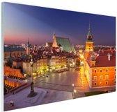 Warschau bij nacht Glas 120x80 cm - Foto print op Glas (Plexiglas wanddecoratie)