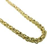 Bewerkte Stalen gouden koningsketting  55 cm 9mm
