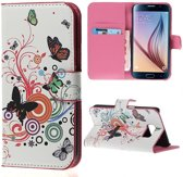 SoFetch - Samsung Galaxy S6 Hoesje - Bookcase - Vlinder Design
