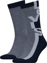 Levis - Unisex 2-Pack Micro Stripe Logo Sokken Grijs Blauw - 43-46
