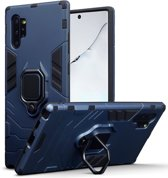 Qubits - Double Armor Layer hoes met stand - Samsung Galaxy Note 10 Plus - Blauw
