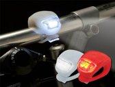 Setje silicone LED fietslamp - Verlichtingsset Rood en Wit - fietsverlichting - DisQounts
