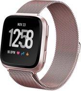 iCall - Fitbit Versa Lite Bandje - Milanees Bandje voor Fitbit Versa Lite - Roségoud