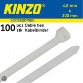Kinzo Kabelbinders 4.8x200mm wit 100 stuks