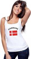 Witte dames tanktop met vlag van Denemarken S