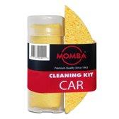 Momba® Autoschoonmaakset 2-delig – Bestaand uit luxe cellulosespons en streeploos zemende microvezelzeem
